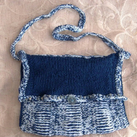 Daily Denim Look, Hand Knitted & Crocheted Handbag.
