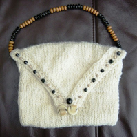 Pure Wool! Hand Knitted & Crocheted Handbag with Glass Bead Detail.