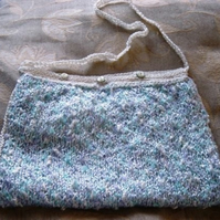 Summer Sky Hand Knitted & Crocheted Handbag & Shell button closure.