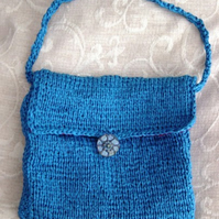 Ceramic Blue Ribbon: Hand Knitted Handbag with Handmade ceramic button