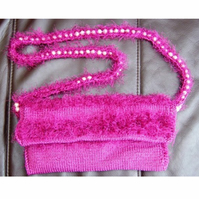 Fluff & Pearl! Hand Knitted & Crocheted Handbag, Pearl Shoulder strap.