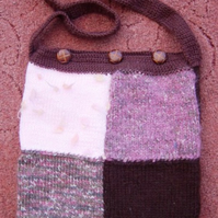 Chocolate Plum Patchwork Hand Knitted & Crocheted Handbag