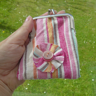 Shabby Chic Candy Stripe Small Change Clip Frame Purse.