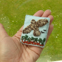 Flying High!  Bird of Prey Yarn and Felt Embroidered Brooch.