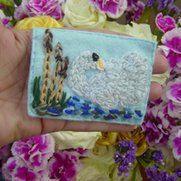 Swan in Rushes Embroidered yarn and Felt mixed media ACEO.