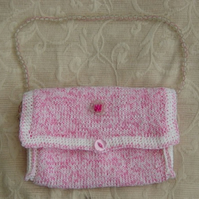 Sweetie Pink! Hand knitted & Crocheted Handbag with bead detail