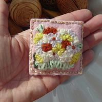 Floral Scene Embroidered Felt and Yarn Brooch.