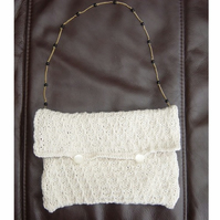 Burgundy Cream, Hand knitted & Crocheted Handbag with goldtone chain