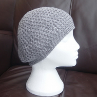 Slate Grey Crocheted Slouchy or Beret, with single & double crochet styles.