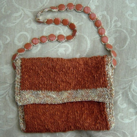 Autumn Glory! Hand Knitted & Crocheted Handbag, bead detail strap