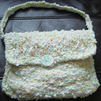 Pretty Pastels Hand Knitted Handbag with Handmade Ceramic Button