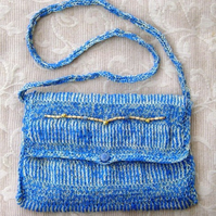 Puffin Beach! Hand knitted & Crocheted Handbag with Shoulder Strap