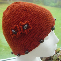 Russet Gem Floral Crocheted Hat with Glass Bead decoration.