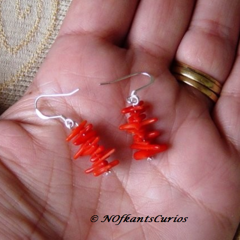 Red Coral Branch & CZ Earrings, with 925 Sterling Silver Hooks.