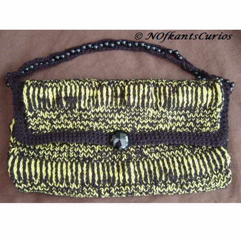 Bumble Bag: Hand Knitted Handbag with Lucite Bead & Crocheted Strap