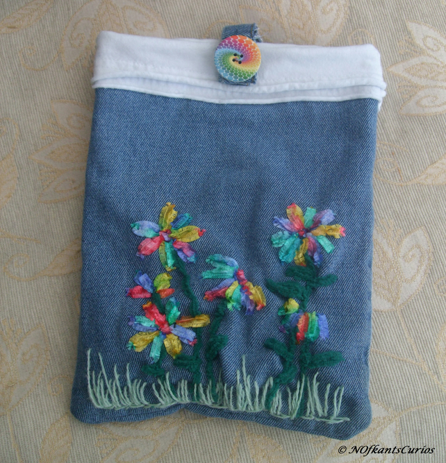 Recycled Rainbow Floral Embroidered Gadget Pouch or Cover.