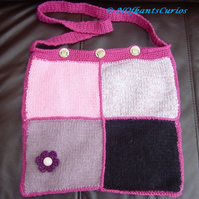 Floral Detail Patchwork Hand Knitted & Crocheted Handbag.