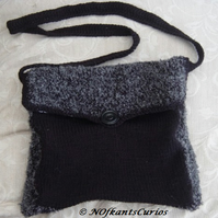 Funky Satchel: Hand Knitted Handbag with Crocheted Shoulder Strap.
