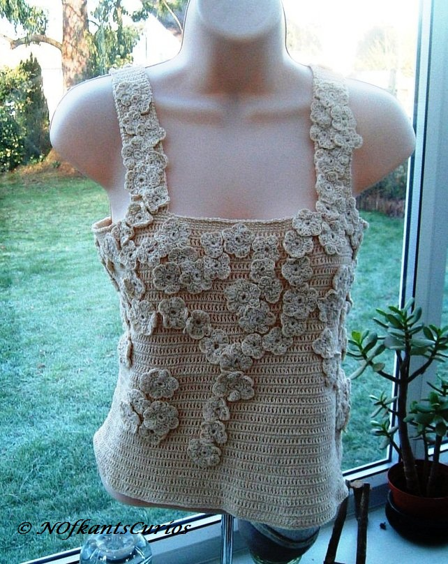 Romantic Floral Dream Hand Crocheted Ladies Top Approx UK Size 10 to 12.