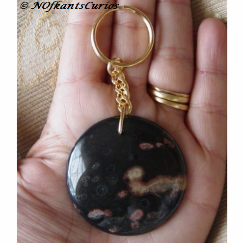 Blossom World, Plum Blossom Jasper Disc Keyring or Handbag charm