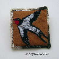 Summer Swallow, Unique Hand Embroidered Yarn & Felt Brooch