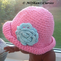 Pretty in Pink!  Crocheted Cotton Baby Hat with Rose for Newborn Baby.