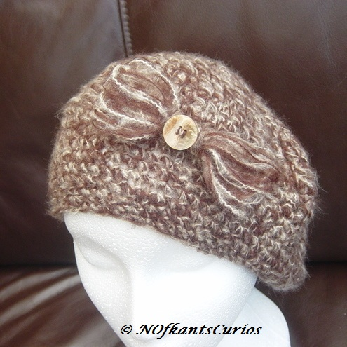 Woodland Hues Crocheted Mohair Beret or Slouchy, with Bow Brooch