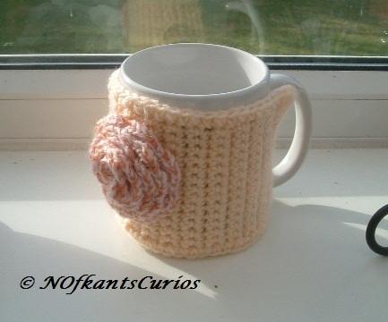Peach and Rose!  Crocheted Mug Cosy with structural Crocheted Rose