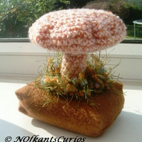 Autumnal Fungi!  Crocheted and Felt Autumn Themed Pin Cushion or Ornament