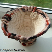 Russet Hues Coiled Rope Trinket Pot or Vase with Stand.