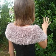 Luxury Champaign Stole!  Super Fluffy Satin Lined Stole or Cape Age 8 -12.