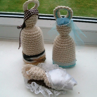 Crocheted Nativity Set!  Handmade Mary, Joseph and Baby Jesus.