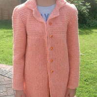 Just Peachy! Long Empire Line Crocheted Child's Jacket Age 10 to 12