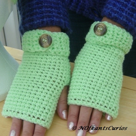 Bright Green! Fingerless Mittens with button wrist band detail