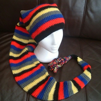 Stripe Fantastic!  Super Long Length Crocheted Hat Scarf with Looping Tassels