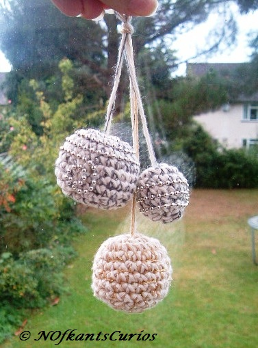 Trio of Baubles!  Three Hand Crocheted and Beaded Christmas Decorations.