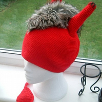 Devil in the Detail!  Fun Crocheted and Faux Fur Spook Tastic Hat!