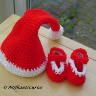 Baby's First Christmas!  Crocheted Festive Hat and Shoes, to size order!