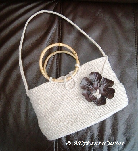 Anastasia's Orchid!  Structural Hand Sewn Cotton Rope and floral Handbag,