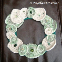 Laurel Wreath!  Crocheted and Beaded Leaf Wreath Decoration