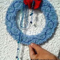 Poppy and Ice Wreath!  Crocheted and Beaded Wreath Decoration