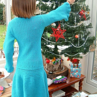 SALE! Turquoise Dream, Girl's Hand Crocheted Coat or Long Length Cardigan
