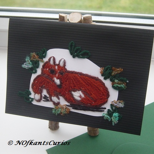 Resting Fox Mixed media Embroidered Greetings Card or picture