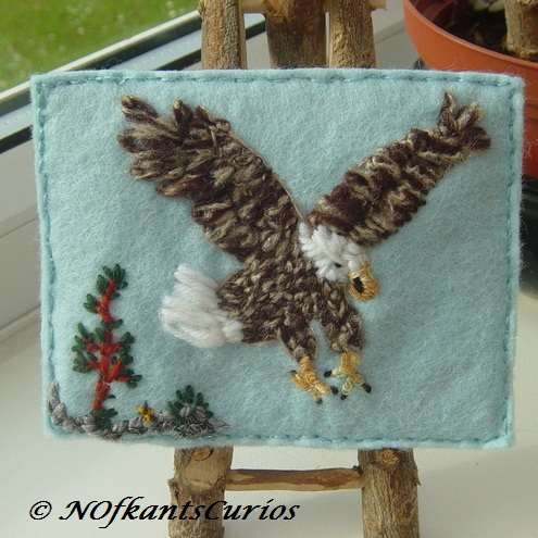 Where Eagle's Dare!  An embroidered Yarn and Felt Picture.