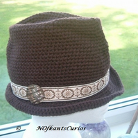 Hot Chocolate Chocolate Crocheted Trilby Hat & Vintage Trimmings