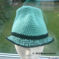 Mint Marple Crocheted Classic Trilby Style Hat