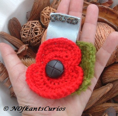 Lest We Forget!  Crocheted Poppy & Forget-me-not Medal Ribbon Style Brooch