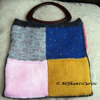 Patchwork Joy, Hand Knitted & crocheted Handbag with Lucite handles