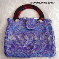 Heather Hues Hand Knitted & Crocheted Handbag with Lucite Handles