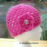 Sweetie Pink Latice Floral Crocheted  loose fit Beanie Hat